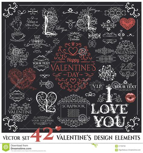 design elements quotes set of calligraphic valentines day design elements stock