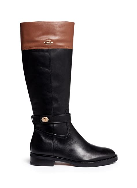 couch boots coach eva women round toe leather black knee high boot in