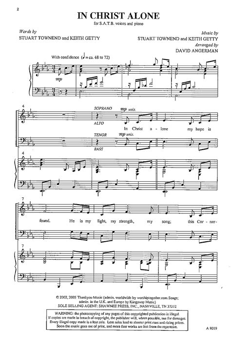free printable sheet music for in christ alone in christ alone satb by keith getty stu j w pepper