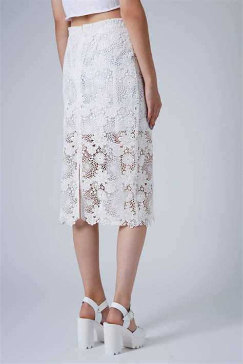 topshop womens lace pencil skirt in white lyst