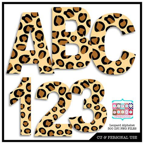free printable animal numbers leopard animal print digital alphabet and number clipart