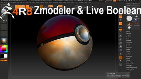 zbrush boolean tutorial zbrush 4r8 modeling poke ball using zmodeler and live