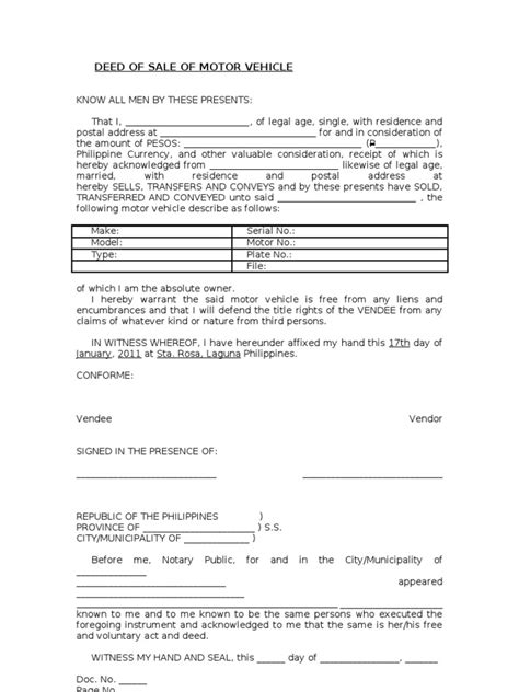 motor vehicle form template blank deed of sale of motor vehicle template