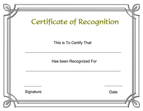 certificate template 13 certificate of recognition template