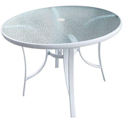 White Patio Table 40 Quot White Glass Top Patio Table