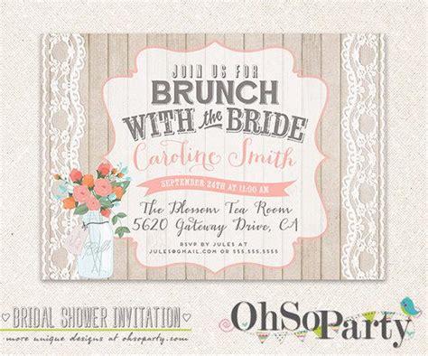 printable bridal shower brunch invitations shabby brunch custom bridal brunch invitation card