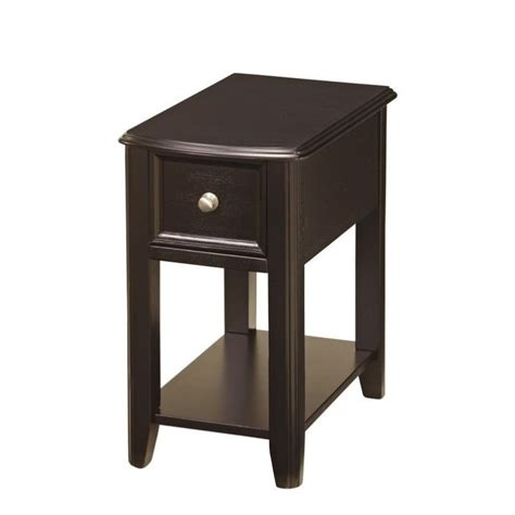 Black End Tables For Living Room Furniture Breegin 1 Drawer End Table In Almost Black T007 371