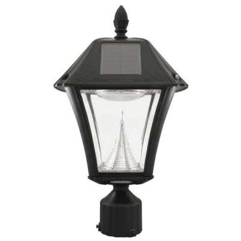 gama sonic baytown ii solar black resin outdoor post light