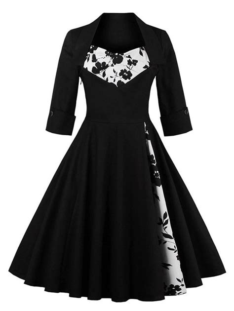 black and white clothing pattern vintage dresses black flower panel swing dress gamiss