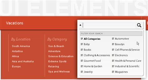 ui pattern search filter ui elements search box with filter and large drop down menu
