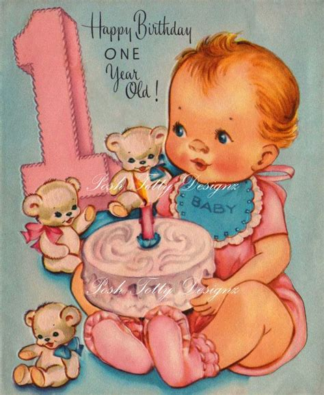 Printable Birthday Cards For One Year Old | happy birthday one year old vintage digital download