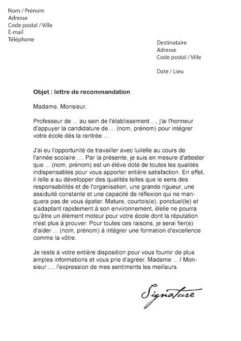 Modele De Lettre Pour Absence Ecole lettre de recommandation 201 cole mod 232 le de lettre