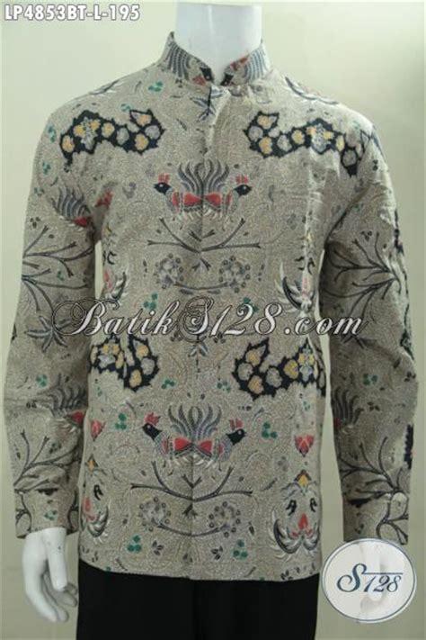 Hem Kerah Koko Batik Katun hem kerja batik lengan panjang kerah shanghai baju batik