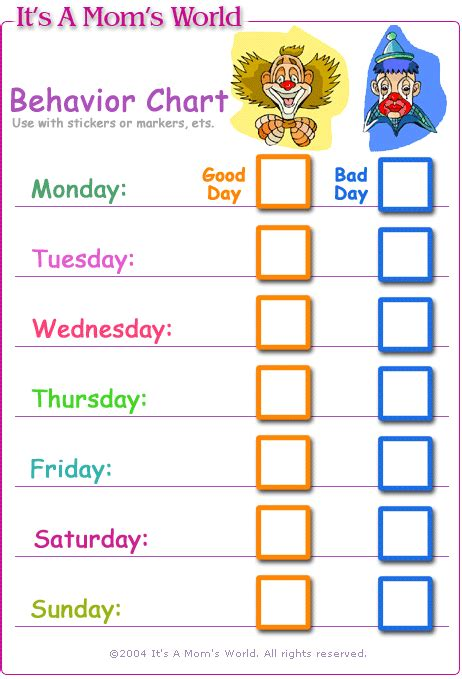 toddler behavior chart template behaviour chart