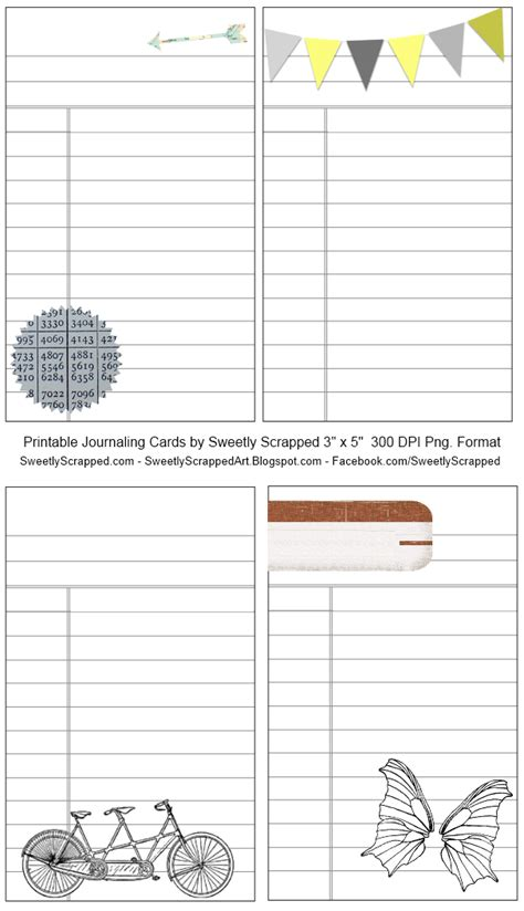 Journaling Cards Template by Sweetly Scrapped Printable Library Style Journaling Cards
