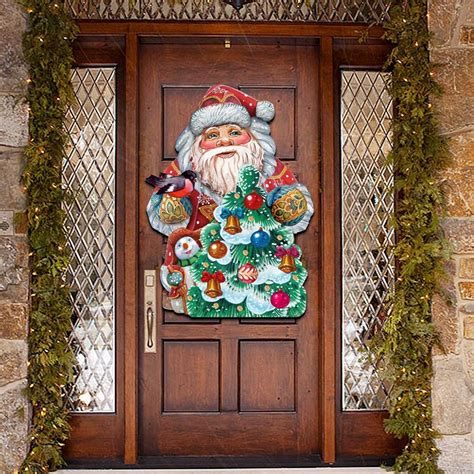 christmas tree decorating santa wooden decorative door