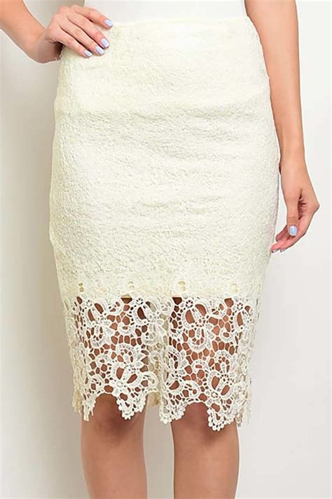 Cream Lace Pencil Skirt   Dress Ala