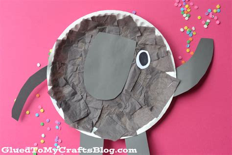Elephant Papercraft - paper plate elephant kid craft glued to my crafts