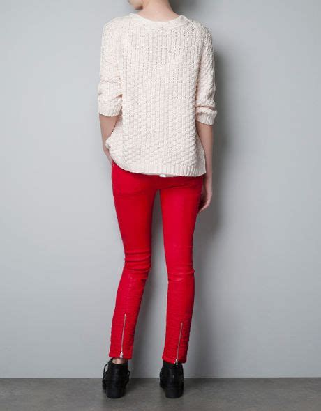 zara cable knit jumper zara jumper with cable knit collar in pink lyst