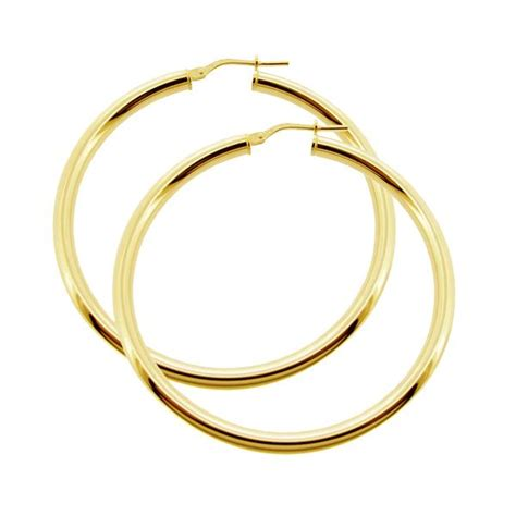9ct Gold Sleeper Earrings by 9ct Gold Plated Small To Large Polished 3mm Hoop Sleeper