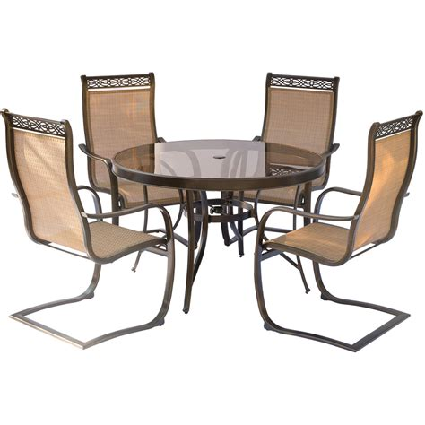 Monaco 5PC Outdoor Dining Set with C Spring Chairs, Glass