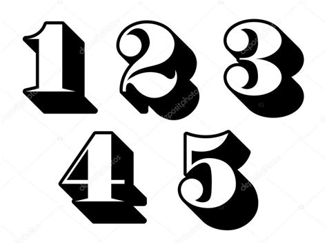 black and white three black and white numbers digits 1 2 3 4 5 stock vector 169 a n 31815785