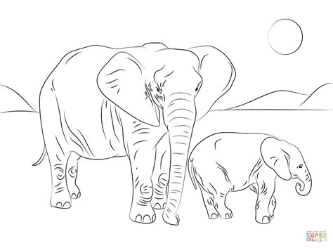 coloring page of african elephant african elephant family coloring page free printable