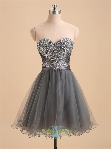 grey beading grey beading sweetheart prom dress homecoming