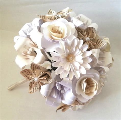 Origami Flower Wedding Bouquet - paper flowers origami bouquet wedding bridal alternative