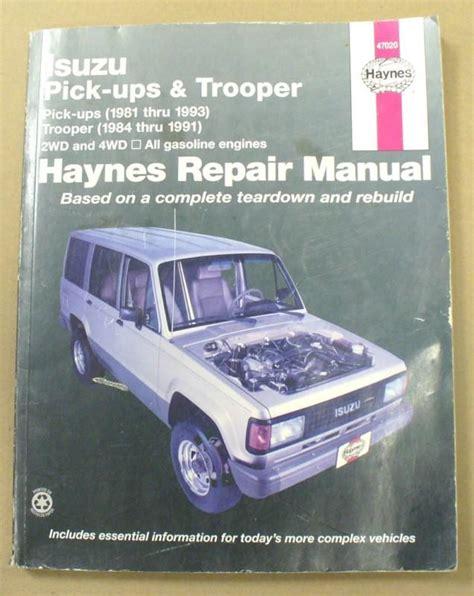 vehicle repair manual 1993 isuzu trooper electronic throttle control sell isuzu pick up 81 93 trooper 84 91 haynes repair manual used motorcycle in san
