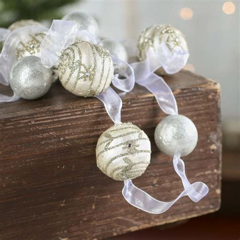 glittered ball ornament garland christmas garlands