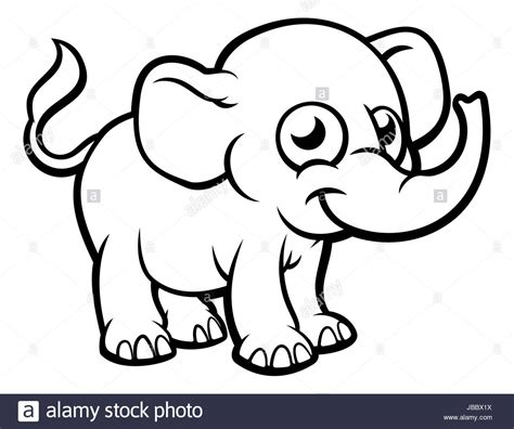 An Elephant Cartoon Character Outline Coloring Illustration Stock Photo 144706070 Alamy Outline Pictures