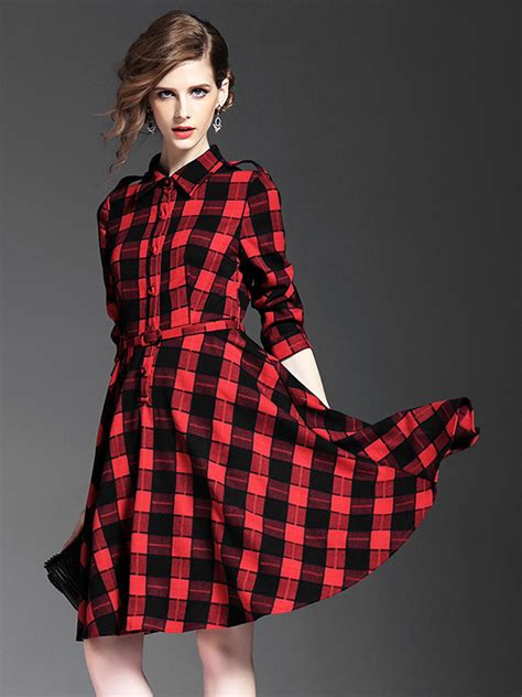 Black White Plaid Sleeved Collar Dress official and black plaid belted waist 3 4 sleeve shirt dress best choice 42 9800