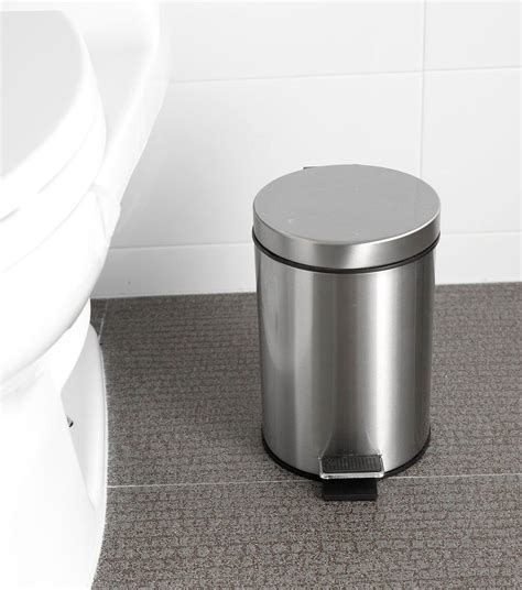 Bathroom Garbage Can With Lid with Bathroom Trash Can Bath Can With Lid Bronze Small Stainless Steel Footpedalnotax Ebay
