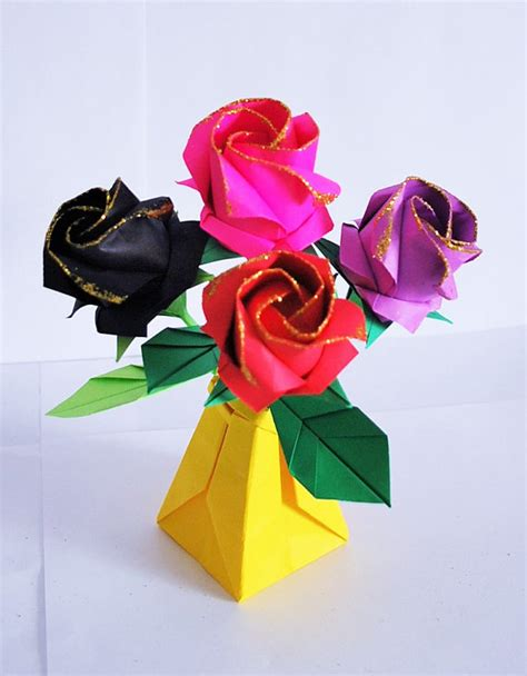 Origami Bouquet Of Roses - roses paper roses origami roses bouquet by artenjoyment