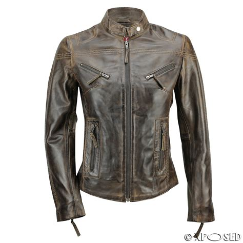 real leather motorcycle jackets ladies womens genuine real leather vintage slim fit red