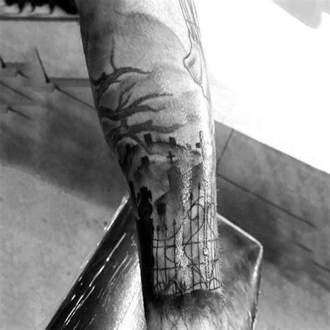 50 tombstone tattoos for men memorial stone designs