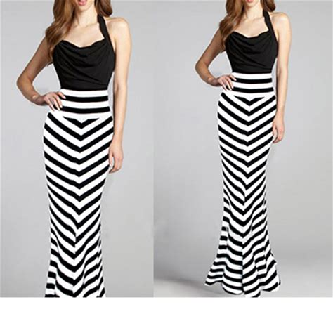 Black And White Line Skirt womens skirts black white striped zebra effect