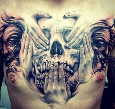 tattoo 3d chest see no evil hear no evil speak no evil 3d skull chest