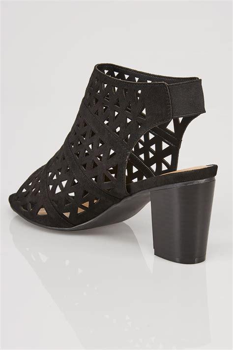 sandals with heels black laser cut sandals with block heel in true eee fit