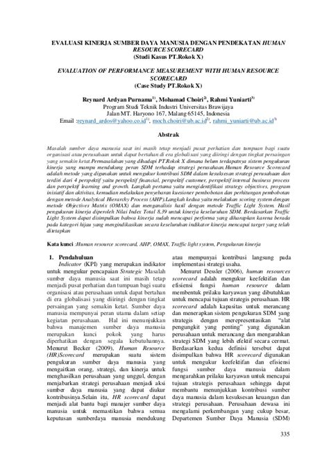 Evaluasi Kinerja Sumber Daya Manusia By Wirawan Jurnal Evaluasi Kinerja Hrsc