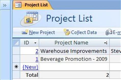 Use The Projects Access Database Template Access Access Database Project Management Templates
