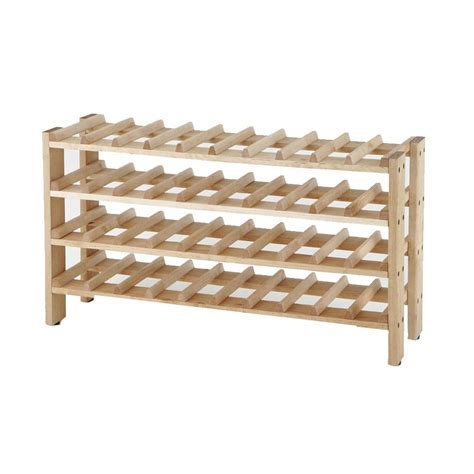 Wine Rack Home Depot by Seville Classics 4 Shelf 40 Bottle Wine Rack In Birch