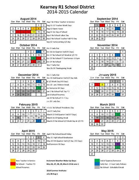 District 200 Calendar 2014 2015 District Calendar Kearney Middle School