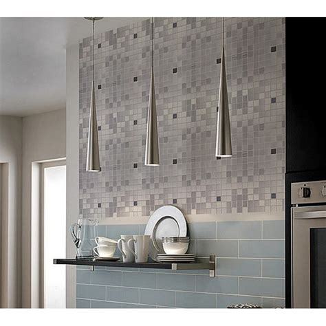 adhsive mosaic tile backsplash square brushed metal wall
