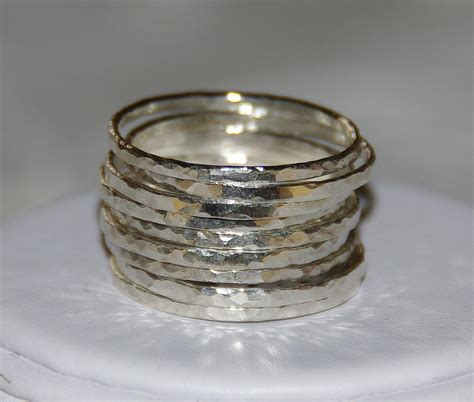 set of 9 handmade hammered sterling silver stackable rings