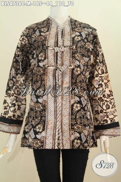 Blus Batik Elegan 263 Cap pakian blus batik modern motif bagus warna elegan proses cap busana batik masa kini buata