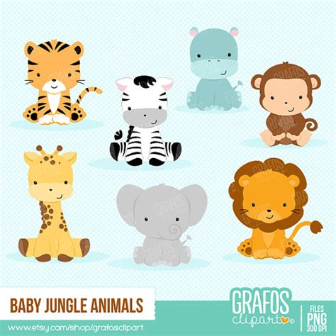 5 baby jungle animals digital clipart set you will
