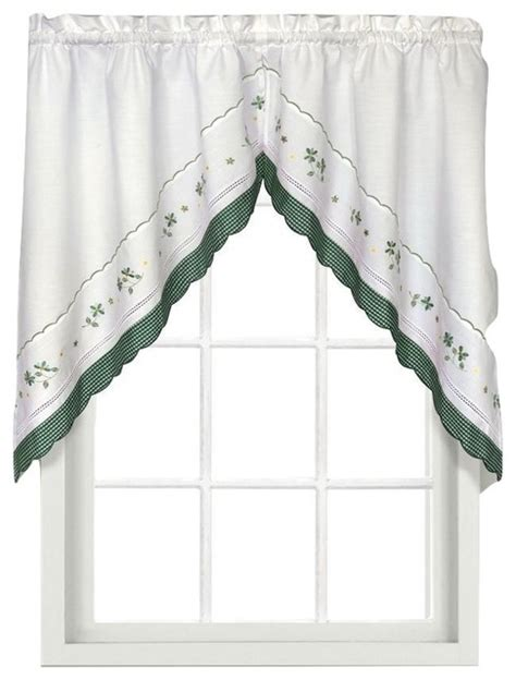 Floral Kitchen Curtains Gingham Green Floral Kitchen Curtain Swag Traditional Valances By Linens4less