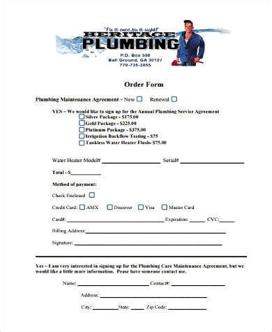 Sle Maintenance Agreement Forms 8 Free Documents In Word Pdf Plumbing Contract Template